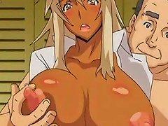 Ebony hentai gets boobs massage