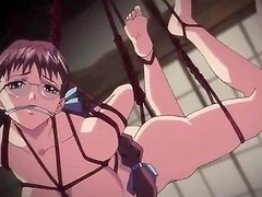 Lesbian double dildo sex with bound hentai girls